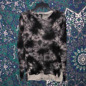 Aqua Cashmere Black and White Tie Dye Sweater